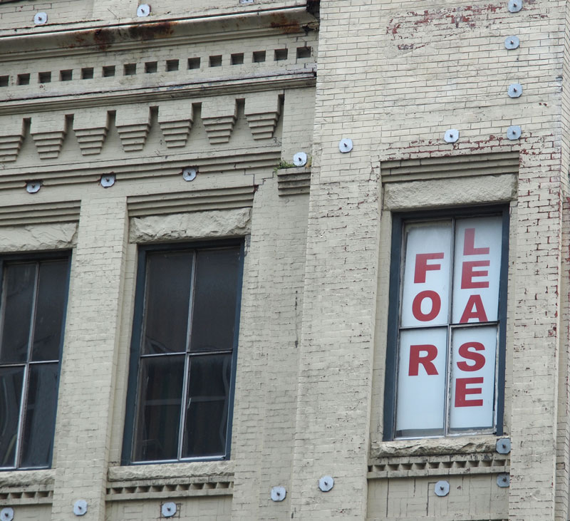 Building with for-lease sign